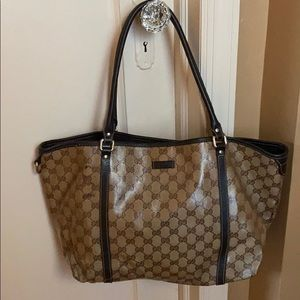 Authentic Gucci brown leather and canvas pvc bag